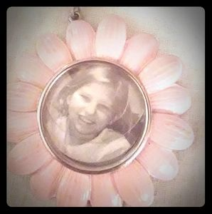 Pink flower photo keychain or purse clip